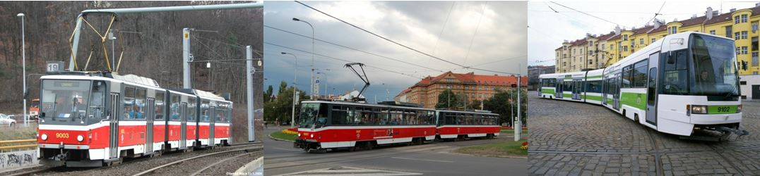 TRAMVAJE KT8DP, T6A5a RT6N1 vedle sebe