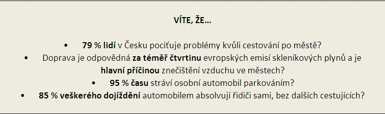 tabulka negativních vlivů dopravy